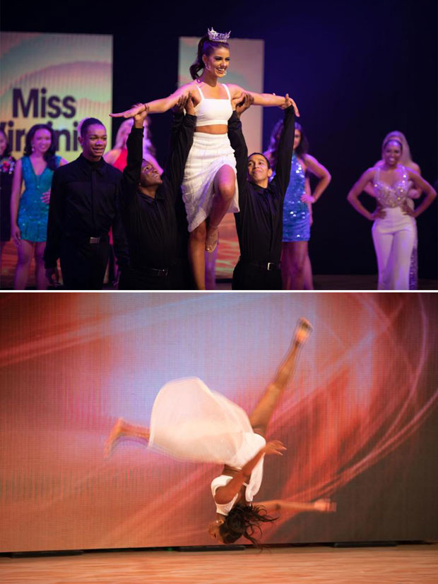 지난 22일(현지시간) 열린 '미스 버지니아 2019' 선발대회에 참가한 에밀 맥파일(위)과 테일러 레이놀즈(아래)가 공연을 펼치고 있다